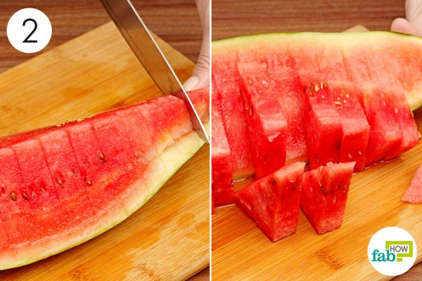 slice the watermelon into wedges