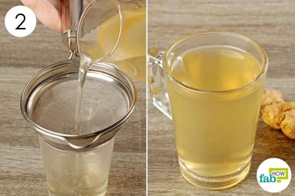 strain ginger tea and drink