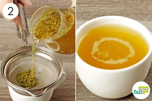 strain fennel tea and drink