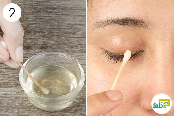 clean your eyelids with the soap solution