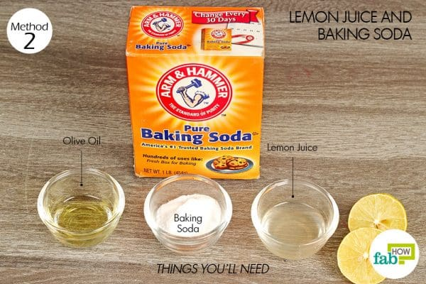 things you'll need using lemon juice and baking soda