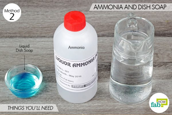 things you'll need to clean sink with ammonia and dish soap