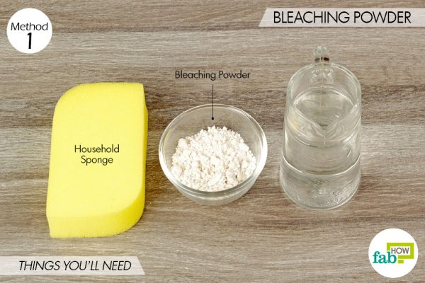 things you'll need to clean sink with bleaching powder