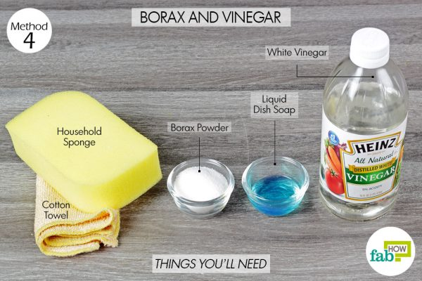 things you'll need to clean sink with borax and vinegar