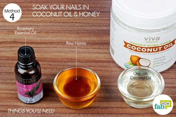 things you'll need to use coconut oil and honey to grow nails