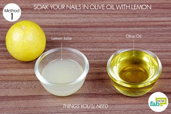 things you'll need to use olive oil and lemon to grow nails