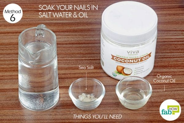 things you'll need to use salt water to grow nails