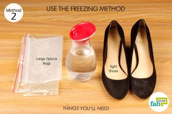 things you'll need to stretch too tight shoes with freezing method