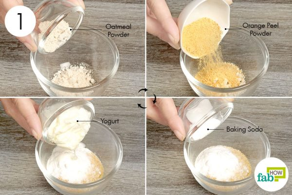 Add all ingredients together to make oatmeal scrub