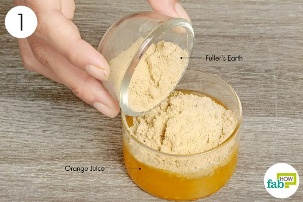 Add Fuller's earth to orange juice and mix
