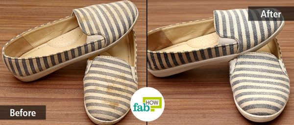 Before-after image of cleaned canvas shoes