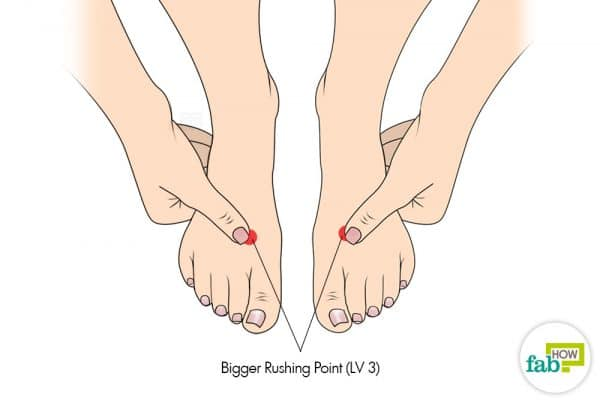 Use the Bigger Rushing acupressure point