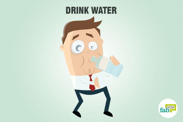 Drink water to dilute the alcohol in your system and sober up fast
