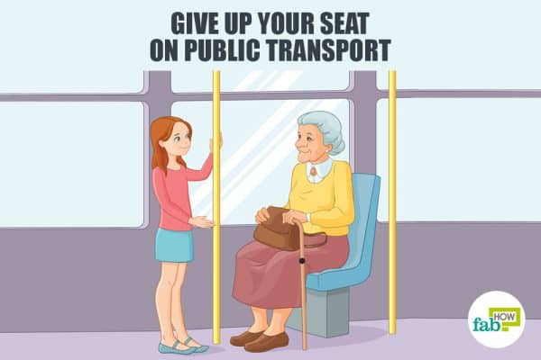 give up your seat on public transport to develop good manners