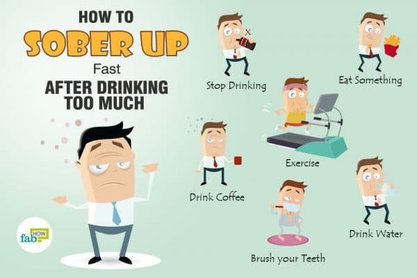 ways to sober up fast after drinking too much
