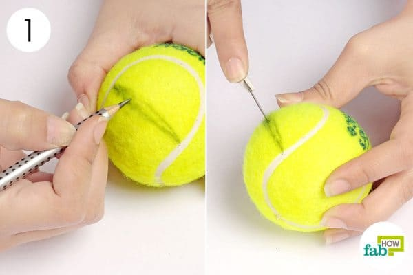 Make a cut in the ball in the shape of a mouth