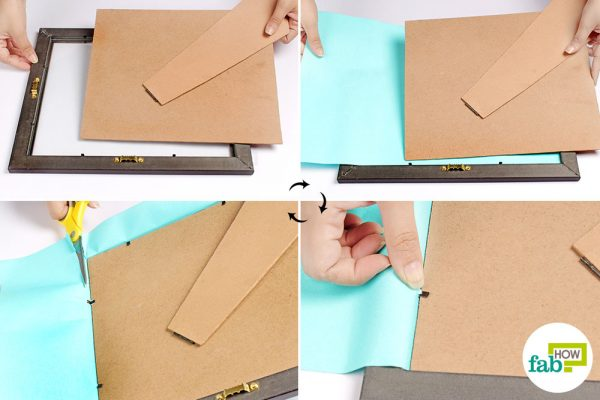 Put colored paper inside a photo frame to create a DIY whiteboard