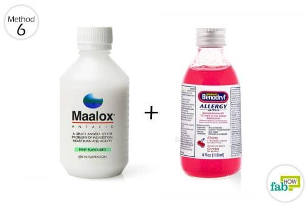 mix maalox and benadryl and use as mouth rinse
