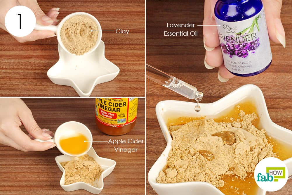 Top 5 tried and tested homemade face masks for acne and scars fab how step 1 combine clay apple cider vinegar and lavender essential oil solutioingenieria Choice Image