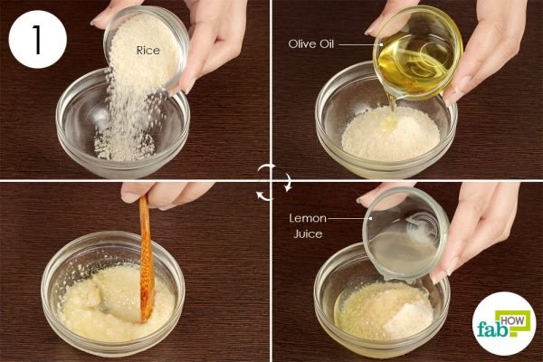 Combine ground rice, olive oil and lemon juice to use rice water for hair and skin