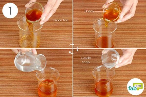 Combine green tea. honey, Castile soap and distilled water in a glass container