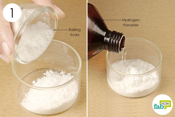 mix baking soda and hydrogen peroxide to clean nails