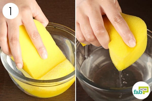 Soak a sponge completely in water to make a cold compress
