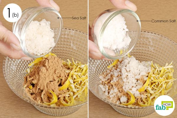 Add sea salt and common salt to make herbal compress