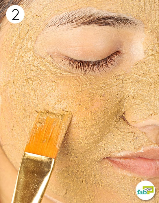 Mix and apply the prepared clay mask to lighten skin