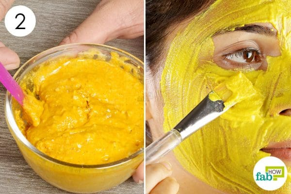 Mix all the ingredients together to make turmeric skin mask
