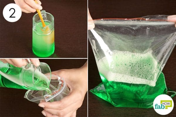 pour the solution in zip lock bag to make a cold compress