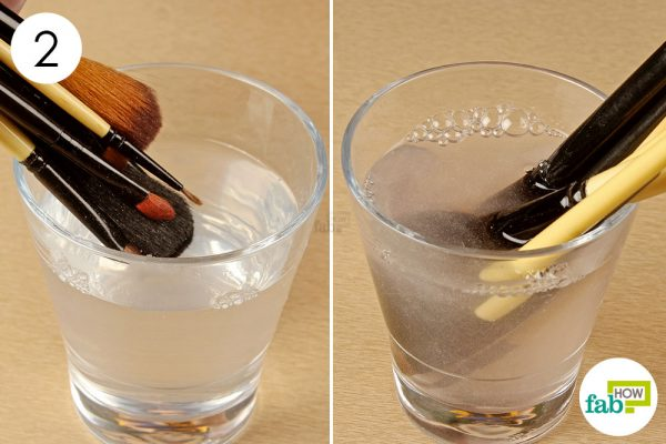 soak the makeup brushes in the solution to loosen dirt
