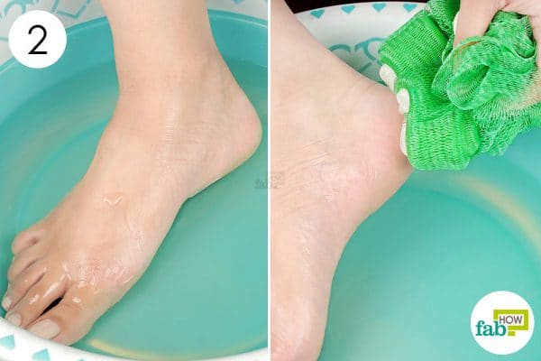 soak your feet and scrub them with loofah