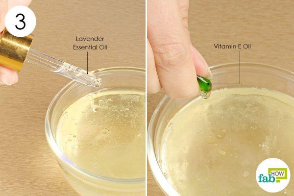 Add the lavender and vitamin E oil