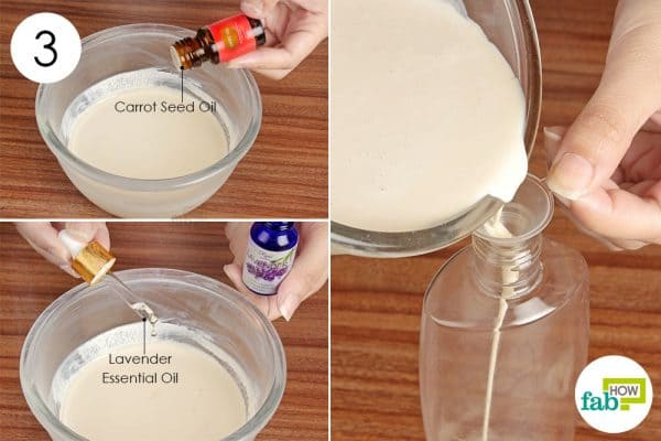 Add the essential oils, mix well and use