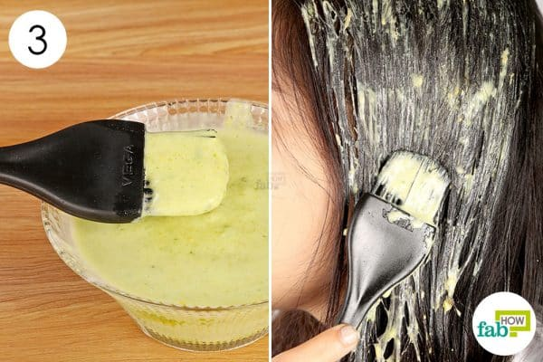 apply the avocado mask to get rid of frizzy hair