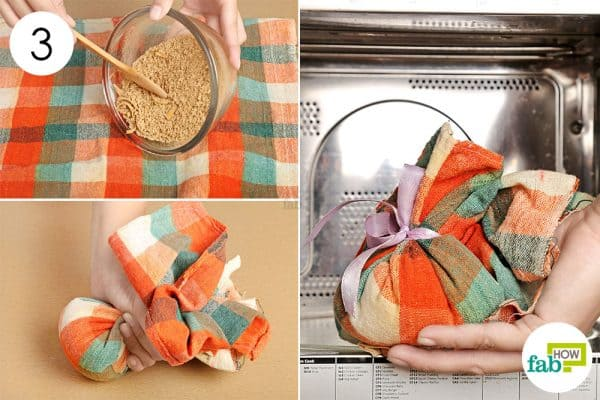 Make a bundle using a flannel cloth and microwave for use as warm compress
