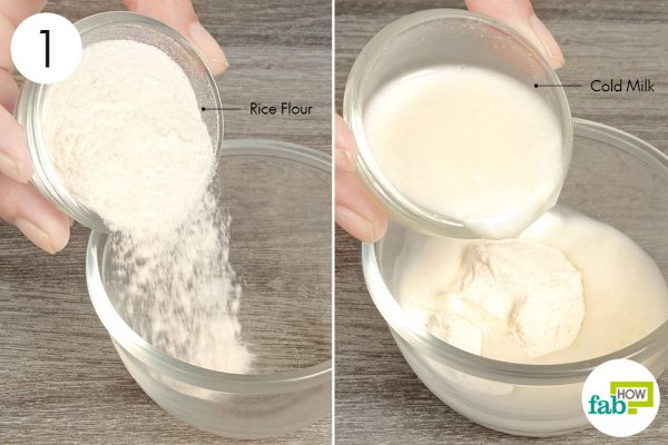 Take rice flour and cold milk in a bowl