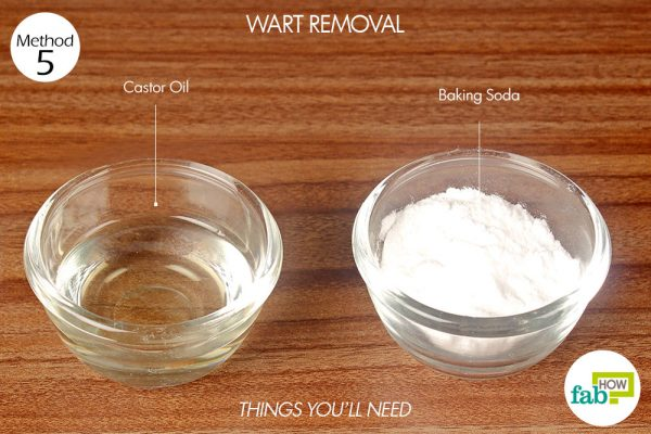 Things needed to remove warts using castor oil