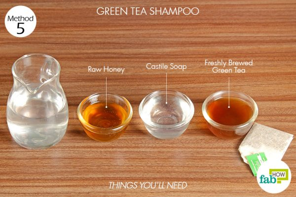 Things needed to make your own green tea shampoo