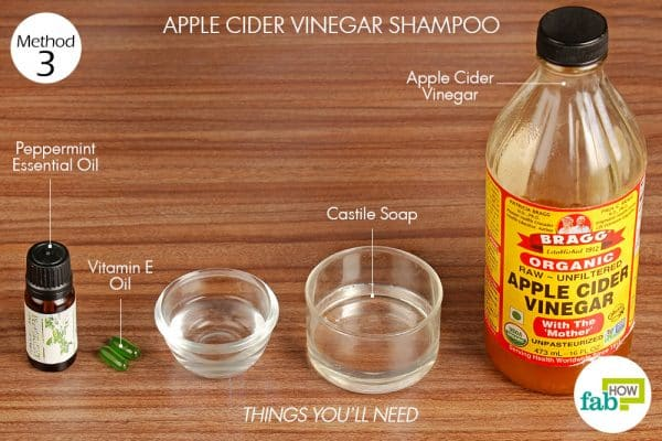 Things needed to make your own apple cider vinegar shampoo