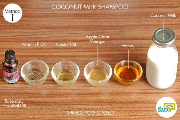 Things needed to make your own coconut milk shampoo