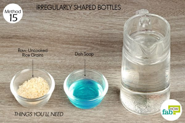 Things needed to clean irregularly shaped bottles