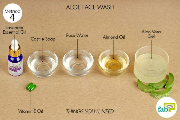 Things needed to make DIY Aloe Face Wash
