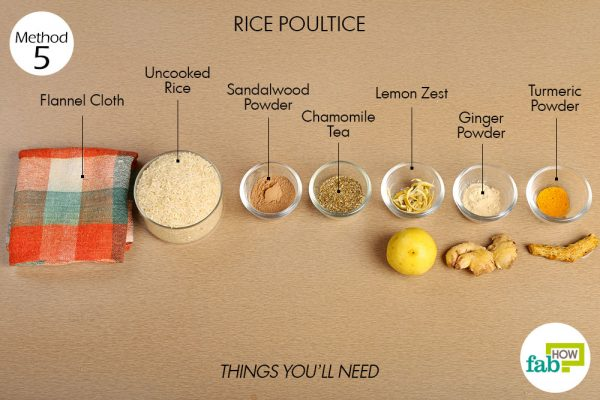 Things needed to make warm water compress with uncooked rice