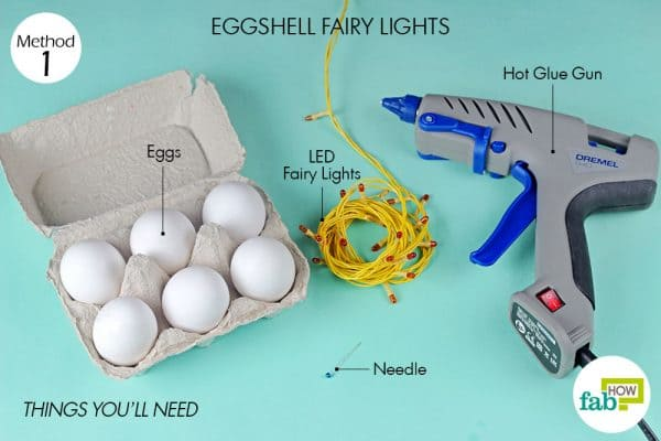 Things needed to make eggshell fairy lights