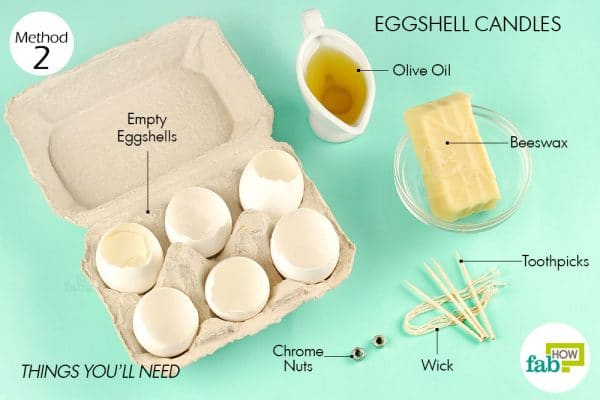 Things needed to make eggshell candles