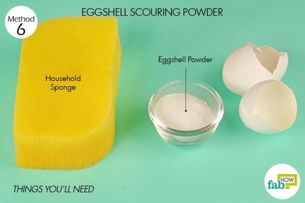 Use eggshell powder to scrub pans
