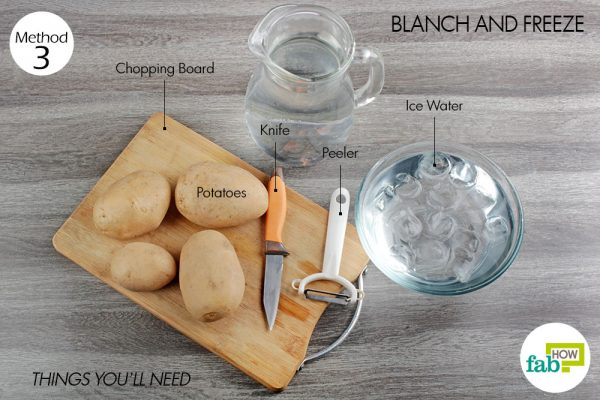things you'll need to blanch and freeze the potatoes