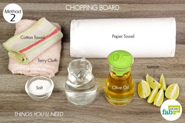 Things needed to clean chopping board
